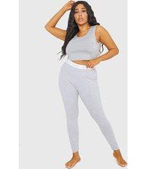 legging missguided plus size msgd tape lo gris - calce ajustado
