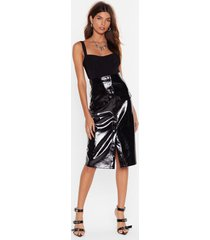 womens rise and shine vinyl midi skirt - black