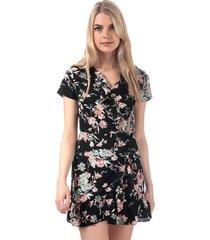 brave soul floral frill wrap dress size 14 in black