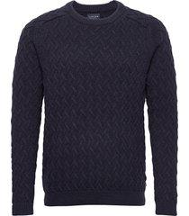 jerry sweater gebreide trui met ronde kraag blauw lexington clothing