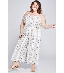 lane bryant women's dot-dash striped crop jumpsuit 28p neutral