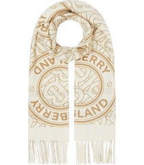 burberry reversible monogram cashmere scarf - white
