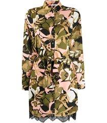 liu jo floral camouflage belted shirt dress - green