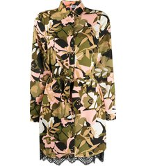 liu jo floral camouflage belted shirt dress - green