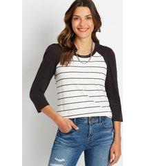 maurices womens 24/7 black stripe puff sleeve baseball tee white