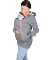 3-in-1 women's kangaroo maternity fleece hoodie jacket casual loose hooded sweat