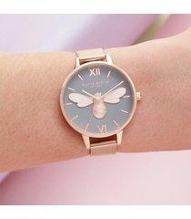 olivia burton women's lucky bee mesh watch - rose gold