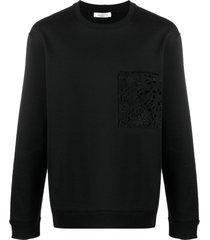 valentino lace-detail logo-print sweatshirt - black