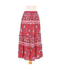 rayon skirt, 'poppy garden' (thailand)