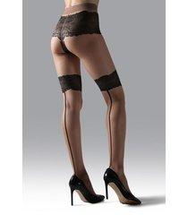 natori luxe lace back seam tights, women's, beige, size m natori