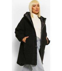 oversized gewatteerde faux fur teddy parka, zwart