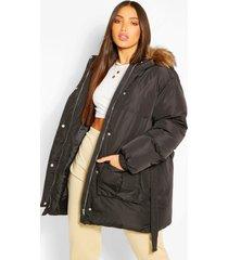tall gewatteerde faux fur jas met ceintuur, black
