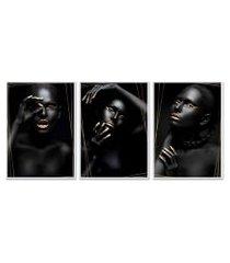 kit 3 quadro  oppen house coleção noir goud moldura branca decoração