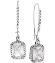 betsey johnson silver-tone crystal and pave square drop earrings