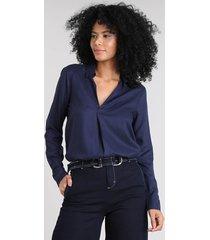 camisa feminina manga longa decote v azul marinho
