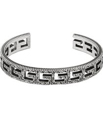 gucci cuff bracelet with square g motif - silver