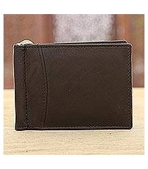 leather wallet, 'solid espresso' (india)