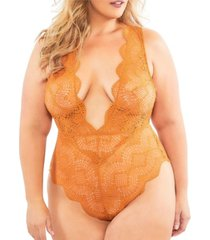 women's plus size striped lace plunge teddy