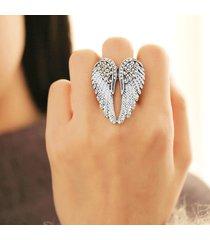 punk angel's wings anello statement rhinestone pieno regolabile anelli di fidanzamento unici per le donne