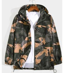 koyye chaqueta con capucha y cremallera frontal con estampado de camuflaje para hombre