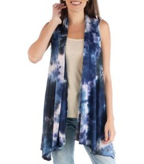 24seven comfort apparel draped open front tie dye boho sleeveless cardigan