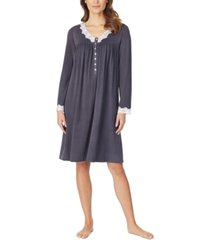 eileen west sweater-knit lace-trim nightgown