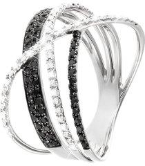 anello in oro bianco 18 kt e diamanti bianchi 0,15 ct e neri 0,25 ct per donna