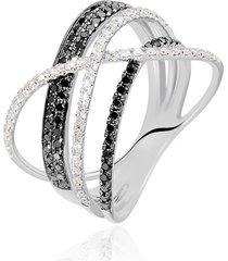 anello in oro bianco e diamanti bianchi 0,15 ct e neri 0,25 ct per donna