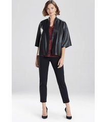 natori faux leather cropped kimono coat, women's, black, size l natori