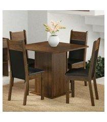 conjunto sala de jantar madesa malibu mesa tampo de madeira com 4 cadeiras rustic/preto/sintético preto