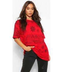 extreem oversized bandana print t-shirt, rood