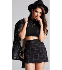 falda de cintura media con diseño de cremallera a cuadros negros