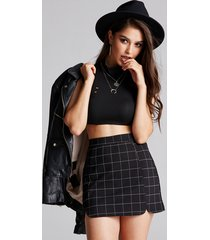 black check zip design middle waisted skirt