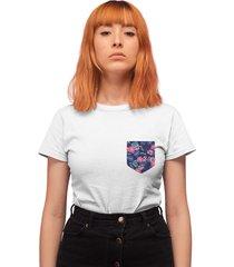 camiseta basica my t-shirt bolso estampado folhagem branco