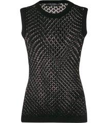 dolce & gabbana crochet knitted vest - black