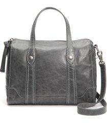 frye melissa double handle leather satchel - grey