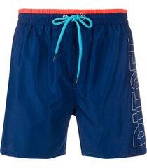 diesel short de natação com estampa de logo - azul