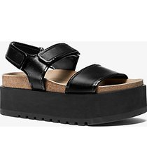 mk sandalo flatform elsie in pelle di vitello - nero (nero) - michael kors