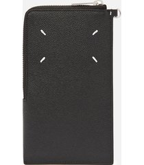 maison margiela men's grainy leather phone wallet - black
