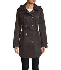 calvin klein women's belted trench coat - black - size xs