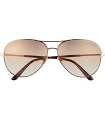 tom ford clark 61mm gradient aviator sunglasses in dark brown/brown mirror at nordstrom
