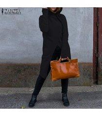 zanzea sudaderas con capucha de manga larga para mujer sudaderas con capucha con cremallera informal sudadera con capucha larga -negro