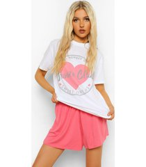 tall snooze club pyjama set met t-shirt en shorts, white
