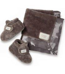 infant ugg bixbee booties & lovey blanket set, size 4/5 m - grey