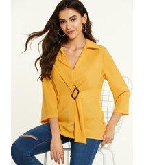 yoins blusa de mangas 3/4 anudadas con cuello revere amarillo