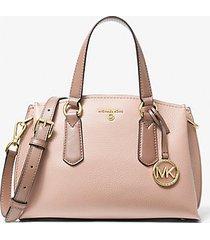 mk borsa a mano emma piccola bicolore in pelle martellata - rosa tenue/crema chiaro/marrone chiaro (rosa) - michael kors