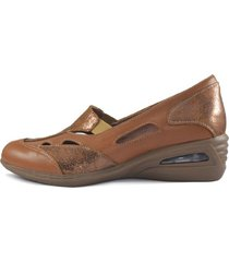 zapato de cuero visón combinado vemmas iman