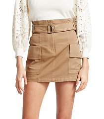 mia belted stretch cotton mini skirt