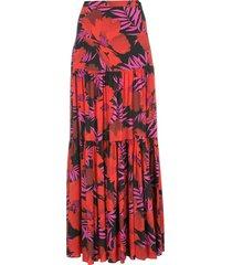 veronica beard serence poppy-print maxi skirt - red
