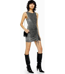 silver metallic thread built up ruched dress - silver